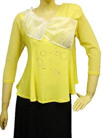 社交ダンス コーラス ダンスストップス レディース ダンスウェア 衣装 Mサイズから Lサイズ 張りのあるゴースト地白えりが、可愛いジルコンデザイントップス。Aラインシルエットでおなか回りをカバー。黄