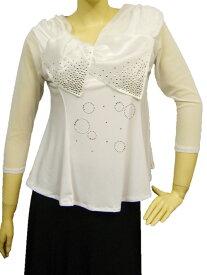 社交ダンス コーラス ダンスストップス レディース ダンスウェア 衣装 Mサイズから Lサイズ 張りのあるゴースト地白えりが、可愛いジルコンデザイントップス。Aラインシルエットでおなか回りをカバー。白