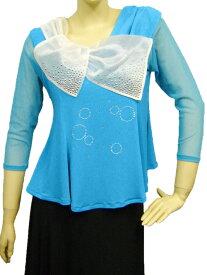 社交ダンス コーラス ダンスストップス レディース ダンスウェア 衣装 Mサイズから Lサイズ 張りのあるゴースト地白えりが、可愛いジルコンデザイントップス。Aラインシルエットでおなか回りをカバー。ブルー