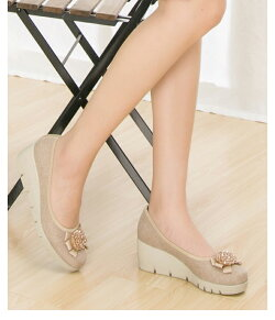 ビジューコンフォートパンプスウエッジソール39603レディース靴痛くない歩きやすい5.5cmヒール