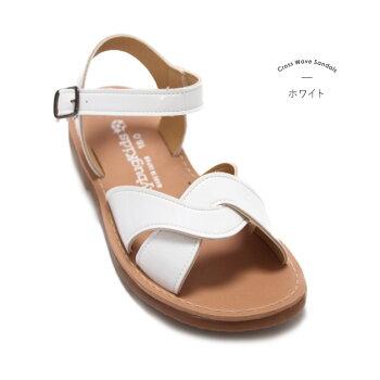 サンダルキッズ女の子子供女子こども「★クロスウェーブサンダル」日本製で歩きやすく靴ずれの心配がほとんどありません柔らかクッションだから楽々おしゃれエナメル汚れにくい高級上質