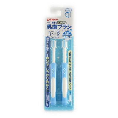 ピジョン 親子で乳歯ケア 乳歯ブラシ レッスン段階4 ブルー 2本入