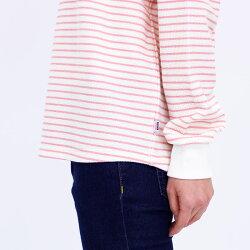Tシャツ長袖VANSPORTS(バンスポーツ)しぼりボーダーTシャツレディースロゴ刺繍裾ラウンドカット(前後差あり)MLLL3LオレンジピンクパープルネイビーNEW春
