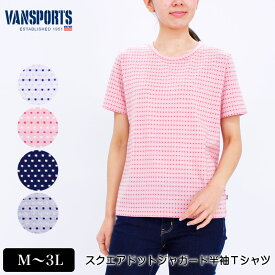 Tシャツ 半袖 VANSPORTS(バンスポーツ) スクエアドットジャガードTシャツ レディース ロゴ刺繍 M L LL 3L オフ ピンク ネイビー グレー NEW 初夏 「202015w」