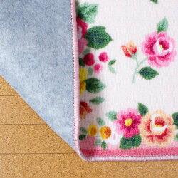 キッチンマット風水約44cm×120cmナイロン100%ブーケ調室内手洗い可滑り止め加工ピンクブルーグリーンイエロー