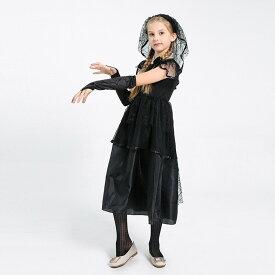 ハロウィン 衣装 子供 吸血鬼 コスチューム ゾンビ花嫁 コスプレ 子供ドレス ワンピース Halloween 仮装 お姫様 魔女 子供 ブラック120cm 130cm 140cm