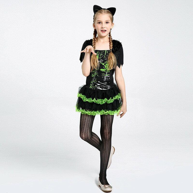 ハロウィン 衣装 子供 猫耳 ねこ 子供ドレス ワンピース Halloween 仮装 イベント お姫様 魔女 2点セット