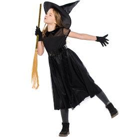 ハロウィン 衣装 子供 女の子 仮装 子供ドレス ワンピース コスプレ 魔法 巫女 小魔女 Halloween ブラック 3点セット