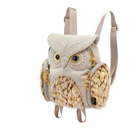 アニマルバッグ モーン Hug.FACTORY The owls ミミズククラシックフランネル ファー OW-356 リュックサック MORN ジッパー付き ショルダーストラップ 撥水加工ナイロン 大人リュック アニマル柄 ナップザック レディースバッグ 入学式 入社式 卒業式 ギフト