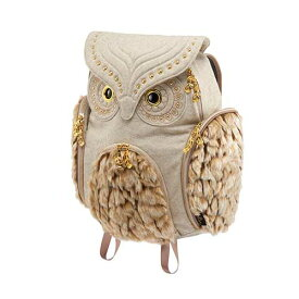 アニマルバッグ モーン Hug.FACTORY The owls ミミズククラシックフランネル ファーLサイズ OW-351 リュックサック MORN ジッパー付き ショルダーストラップ 撥水加工ナイロン 大人リュック アニマル柄 ナップザック レディースバッグ 入学式 入社式 卒業式 ギフト
