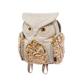 アニマルバッグ モーン Hug.FACTORY The owls ミミズククラシックフランネル ファーLサイズ OW-352 リュックサック MORN ジッパー付き ショルダーストラップ 撥水加工ナイロン 大人リュック アニマル柄 ナップザック レディースバッグ 入学式 入社式 卒業式 ギフト