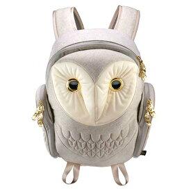 アニマルバッグ モーン Hug.FACTORY The owls メンフクロウ バックパック フランネル M ホワイト BO-122 リュックサック MORN ジッパー付き ショルダーストラップ 撥水加工ナイロン 大人リュック アニマル柄 ナップザック レディースバッグ 入学式 入社式 卒業式 ギフト