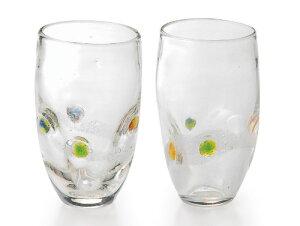 〔ガラス食器〕「手作り」なので世界に一つ!あなただけのグラスを♪ほのか ペアハイカップ(2Pセット)【炭酸水】
