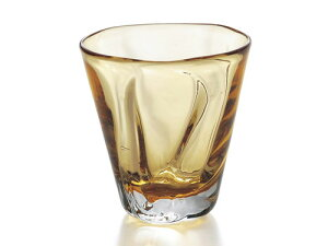 〔手作り グラス ガラス食器〕フロウ ロックグラス1P(茶)【炭酸水】