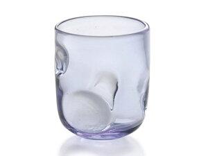 〔手作り ガラス食器〕リップル ロックグラス1P(青)【炭酸水】