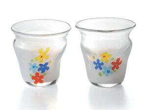 〔手作り ガラス食器〕花柄の可愛いグラスミルクフラワー ペアロック2P【炭酸水】