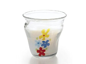 〔手作り ガラス食器〕花柄の可愛いグラスミルクフラワー ロックグラス1P【炭酸水】