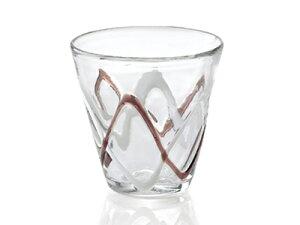 〔手作り ガラス食器〕やわらかな流線が美しいウェーブ ロックグラス1P【炭酸水】