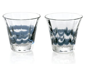 〔手作り ガラス食器〕サイドのラインが美しい群青 ペアロックグラス2P【炭酸水】