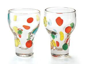 〔ガラス食器〕「手作り」なので世界にひとつ!きれい色のドットがかわいらしいグラスです。キャンディ ペアハイカップ(2Pセット)【炭酸水】