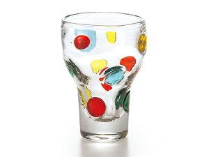 「手作り」のかわいらしいグラス!!きれい色ドットのガラス食器キャンディ ハイカップ(1P)【炭酸水】
