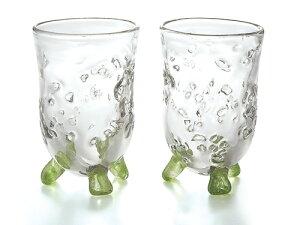 〔ガラス食器〕とってもキュートな「手作り」のグラス♪ハーモニー ペアハイカップ(2Pセット)【炭酸水】