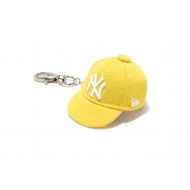 ニューエラ(NEW ERA) キャップキーホルダー ニューヨーク・ヤンキース サイバーイエロー × ホワイト 11117964