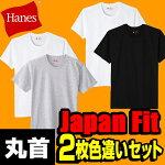 ヘインズ(Hanes)【2枚組色違い】ジャパンフィットJapanFitクルーネックTシャツH5120アソート(あす楽即納あり)