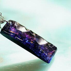 『Blue sparkling jewel』 ガラスアクセサリー ネックレス・ペンダント 四角・多角・星タイプ