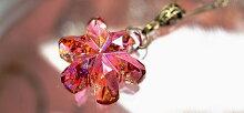『Crystalsnowflower〜頬染める雪の花〜』ガラスアクセサリーネックレス・ペンダントダイカット(平面造形)タイプ