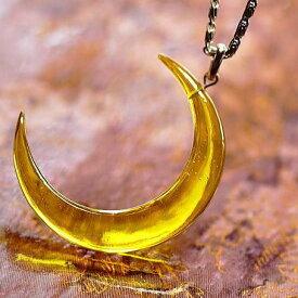 『琥珀の光を纏う月』 ガラスアクセサリー ネックレス・ペンダント ダイカット(平面造形)タイプ