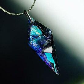『Shining on meteorite』 ガラスアクセサリー ネックレス・ペンダント 四角・多角・星タイプ
