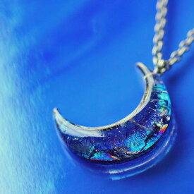 『光輝 〜 上弦の月 〜』 ガラスアクセサリー ネックレス・ペンダント ダイカット(平面造形)タイプ