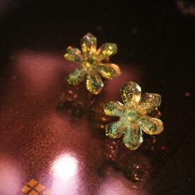 『Snow flower 〜 Brilliant gleam 〜』 ガラスアクセサリー ピアス・イヤリング