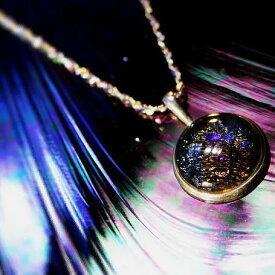 『Purple evening sun』 ガラスアクセサリー ネックレス・ペンダント 円・楕円・ドロップタイプ