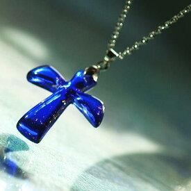 『遠き空へ 〜 天使のクロス 〜』 ガラスアクセサリー ネックレス・ペンダント クロスタイプ