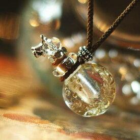 『香水瓶ペンダント / ラウンド・クリアー』 ガラスアクセサリー インポート品 ネックレス・ペンダント 立体造形タイプ