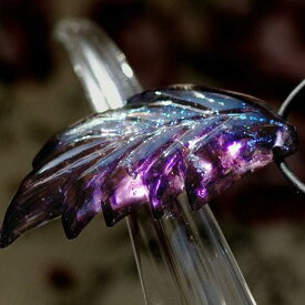 『紫宮の翼』 ガラスアクセサリー ネックレス・ペンダント ダイカット(平面造形)タイプ