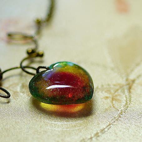 『Aqua jewel heart 〜 ANTIQUE 〜』 ガラスアクセサリー ネックレス・ペンダント ハートタイプ
