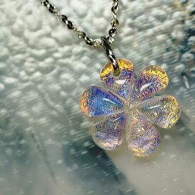 『夢色の花』 ガラスアクセサリー ネックレス・ペンダント ダイカット(平面造形)タイプ
