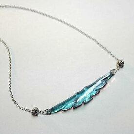 『Majestic wing』 ガラスアクセサリー ネックレス・ペンダント 羽根タイプ