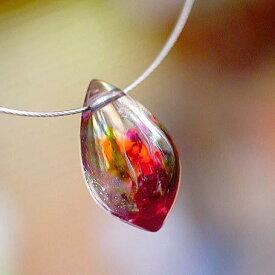 『氷の薔薇 〜 Colorful 〜』 ガラスアクセサリー ネックレス・ペンダント しずくタイプ