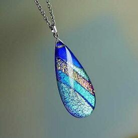 『DICHROIC AURORA WAVE』 ガラスアクセサリー ネックレス・ペンダント 円・楕円・ドロップタイプ