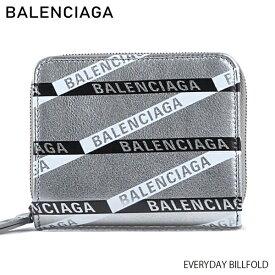 【予約】【送料無料】【2019SS】【並行輸入品】『BALENCIAGA-バレンシアガ-』EVERYDAY BILLFOLD レディース 二つ折り財布 ラウンドファスナー シルバー ロゴ〔551933/00T0N〕《ご注文後3日前後発送予定》