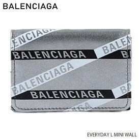 【予約】【送料無料】【2019SS】【並行輸入品】『BALENCIAGA-バレンシアガ-』EVERYDAY L MINI WALL レディース 三つ折り財布 シルバー ロゴ〔551921/00T0N〕《ご注文後3日前後発送予定》
