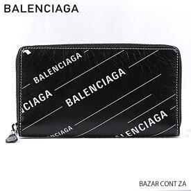 【予約】【送料無料】【2019SS】【並行輸入品】『BALENCIAGA-バレンシアガ-』BAZAR CONT ZA レディース 長財布 ラウンドファスナー グラフィックデザイン ブラック ロゴ〔443655/0Q7NN〕《ご注文後3日前後発送予定》