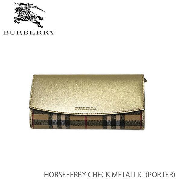 【送料無料】【BURBERRY-バーバリー】PORTER Horseferry Check Metallic [レディース 長財布 ウォレット]