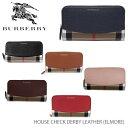 【予約】【送料無料】【BURBERRY-バーバリー】ELMORE House Check Derby Leather [レディース 長財布 ラウンドファス…