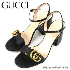 【並行輸入品】GUCCI グッチ Leather mid heel sandal レザー ミッドヒール サンダル レディース[453379 A3N00]