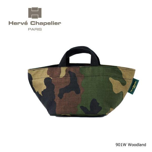 【送料無料】【2018 SS】【並行輸入品】『Herve Chapelier-エルベシャプリエ-』Camouflage-舟型トートバッグ-[901W 49:Camouflage][ナイロン舟型トート S カモフラージュ 迷彩]